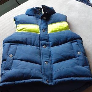 Gap Kids puffer vest Navy yellow thick fleece